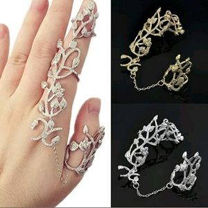 Jewelry - Unique Two Finger Ring Roses & Filgari Gold Silver